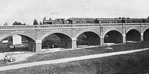 Buenos Aires and Pacific Railway - A train crossing the arc bridges in Palermo, Buenos Aires, 1909.