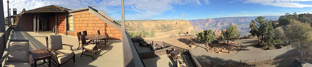 This panoramic Grand Canyon photo was taken at the El Tovar Hotel on the private deck attached to the Presidential Suite.