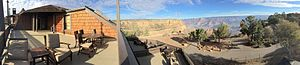 El Tovar Hotel - This panoramic Grand Canyon photo was taken at the El Tovar Hotel on the private deck attached to the Presidential Suite.