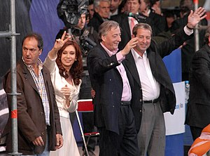 Argentine general election, 2007 - President Néstor Kirchner (2nd from right) backs winning Front for Victory candidates (from L to R)  Daniel Scioli (Governor), Cristina Fernández de Kirchner (President) and Julio Cobos (VP).