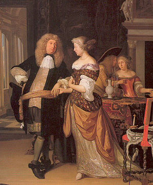 1650–1700 in Western European fashion - The elegant gentleman wears a coat, waistcoat, and breeches. The lady's bodice is long-waisted and her narrow mantua is draped and pinned up behind, Dutch, 1678