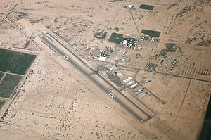 Eloy, Arizona - Aerial view of the Eloy Municipal Airport, looking east.