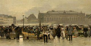 De markt voor de schouwburg in Antwerpen