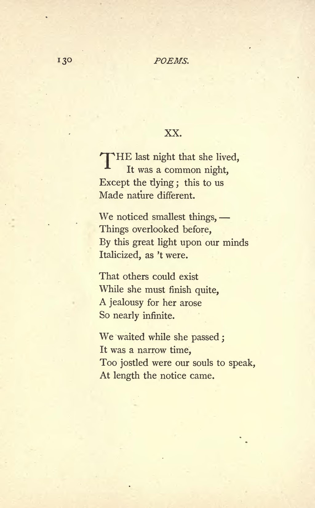 the last night that she lived poem