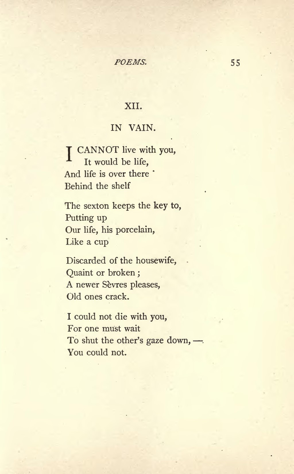 i cannot live with you poem
