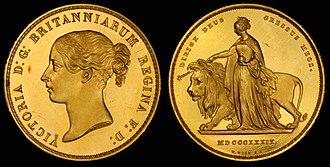 Una and the Lion - United Kingdom 1839 5 Pounds
