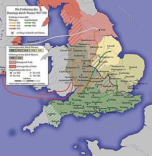 Wessex - Unification of England and Defeat of the Danelaw in the 10th century under Wessex.
