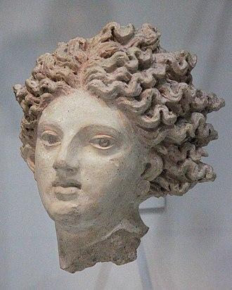 Catha (mythology) - Terra cotta head depicting Catha or Leucothea. From Pyrgi, Italy. Rome, Museo Nazionale di Villa Giulia. Ca, fourth century BCE.