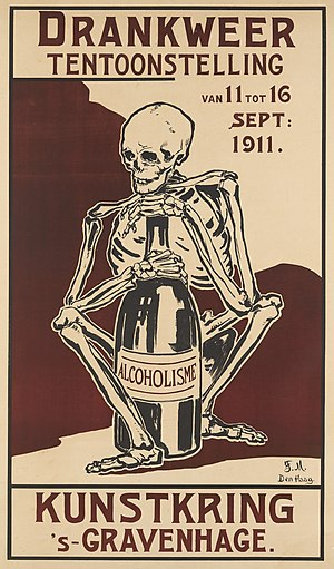 Exhibition poster A skeleton clutching a bottle Wellcome L0072177.jpg