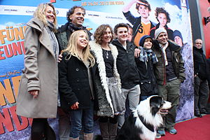 The Famous Five (novel series) - Producers, actors, director and the dog Coffey at the Schleswig premiere of the movie Fünf Freunde (translated into English The Famous Five Friends)