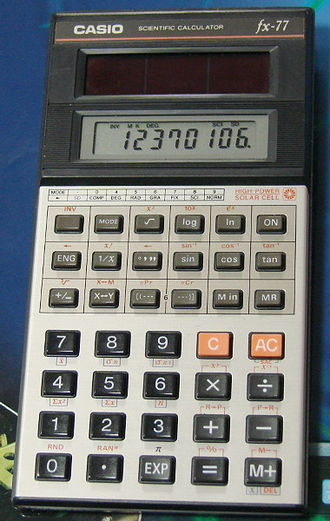 Scientific calculator - Casio fx-77, a solar-powered scientific calculator from the 1980s using a single-line LCD