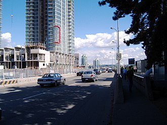 Georgia Street - Georgia St. Viaduct's entry point from Beatty Street, between BC Place (right) and Rogers Arena (left)