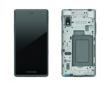 A image of the front and back of a Fairphone 2, showing the screen, camera and speaker at the front, and antennas, battery, card slots, loudspeaker and rear camera at the back, among other components.