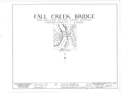 Fall Creek Bridge Spanning Fall Creek Gorge, Fall Creek Station, Fall Creek, Adams County, IL HABS ILL,1-FALC.V,1- (sheet 0 of 1)