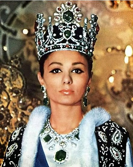 Empress Farah after her coronation Farah Pahlavi with crown.jpg