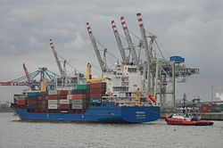 Feeder ship Norderoog - Port of Hamburg, Container Terminal Tollerort.jpg