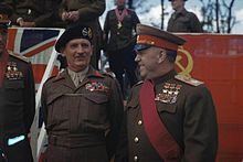 Field Marshal Montgomery Decorates Russian Generals at the Brandenburg Gate in Berlin, Germany, 12 July 1945 TR2917.jpg