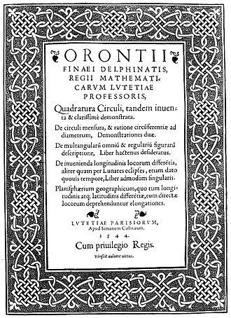 Oronce Finé - Quadratura circuli, 1544