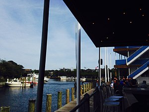 Fire Island Pines, New York - View of the Fire Island Pines Marina from a nearby bar