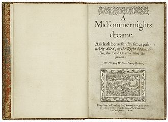 The title page from the first quarto, printed in 1600 First Quarto Printing of A Midsummer Night's Dream.jpg