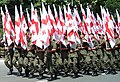 Flags of Georgia in Rustaveli Avenue, Tbilisi, on a military parade during the Independence Day celebration (May 26, 2008).jpg