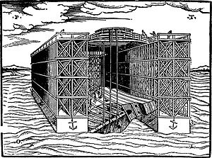 Dry dock - Floating Dock. Woodcut from Venice (1560).