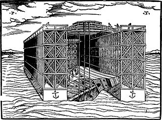 Dry dock - Floating Dock. Woodcut from Venice (1560)