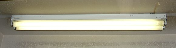 Fluorescent lamp, a device with negative differential resistance. In operation, an increase in current through the fluorescent tube causes a drop in voltage across it. If the tube were connected directly to the power line, the falling tube voltage would cause more and more current to flow, causing it to arc flash and destroy itself. To prevent this, fluorescent tubes are connected to the power line through a ballast. The ballast adds positive impedance (AC resistance) to the circuit to counteract the negative resistance of the tube, limiting the current. Fluorescent light strip 2 tube.JPG