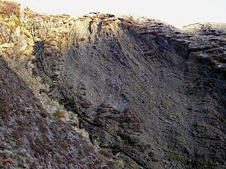 Dob's Linn - Image: Folds in the Rock Strata high up in the Dob's Linn Gorge geograph.org.uk 1093242