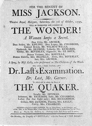Benefit performance - For the benefit of Miss Jackson - a  1797 handbill for a performance at the Theatre Royal, Margate