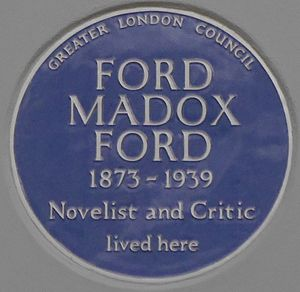 Ford Madox Ford - Blue plaque, 80 Campden Hill Road, Kensington, London