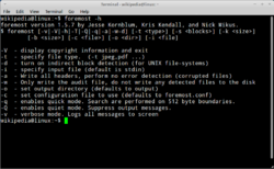 Screenshot of foremost's -h (help) output on Xubuntu 11.04