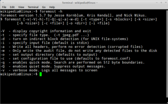 Foremost (software) - Image: Foremost on Xubuntu 11.04