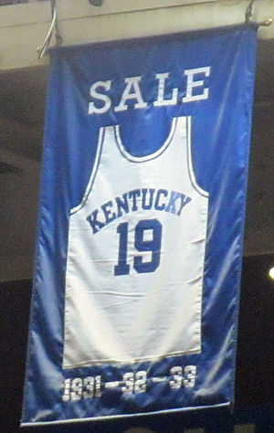 Forest Sale - A jersey honoring Sale hangs in Rupp Arena.
