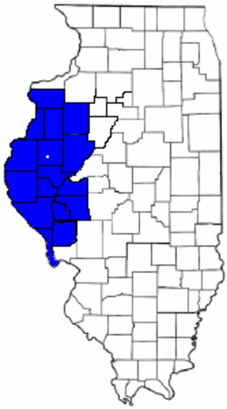Forgottonia - The 16 counties of Forgottonia. Fandon is the white dot.