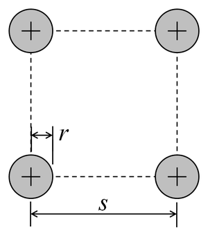 Antenna equivalent radius - Image: Four conductor antenna cross section