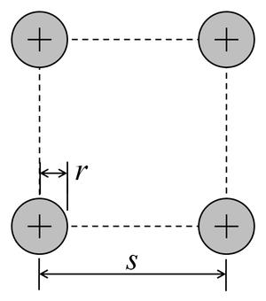 Antenna equivalent radius - Image: Four conductor antenna cross section