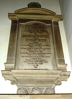 Francis Mansell - The memorial to Francis Mansell in the college chapel