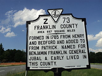 Franklin County, Virginia - Franklin County historic marker, State of Virginia