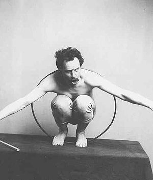 "Franz Boas - ""Franz Boas posing for figure in US Natural History Museum exhibit entitled ""Hamats'a coming out of secret room"" 1895 or before. Courtesy of National Anthropology Archives. (Kwakiutl culture)"