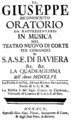 Franz Carl Thomas Cröner - Il Giuseppe riconosciuto - titlepage of the libretto - Munich 1756.png