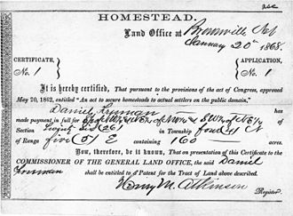Homestead Acts - Certificate of homestead in Nebraska given under the Homestead Act, 1862