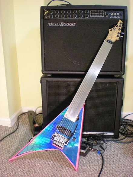 Homemade fretless guitar based on Jackson Rhoads Fretless-8string-guitar.JPG