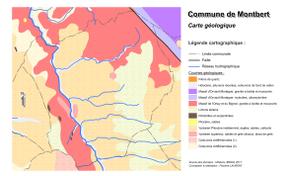 Carte représentant sous forme de secteurs de couleurs le zonage géologique d'un territoire.