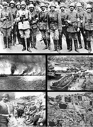 Gallipoli Campaign - A collection of photographs from the campaign. From top and left to right: Ottoman commanders including Mustafa Kemal (fourth from left); Allied warships; the view down to Anzac Cove; Ottoman soldiers in a trench; and Allied positions.