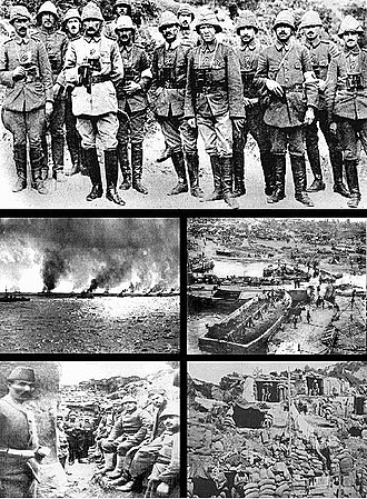 Gallipoli Campaign - A collection of photographs from the campaign. From top and left to right: Ottoman commanders including Mustafa Kemal Atatürk (fourth from left); Allied warships; V beach from the deck of SS River Clyde; Ottoman soldiers in a trench; and Allied positions.