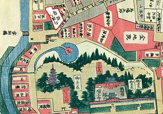 Eulenburg expedition - Guesthouse for foreigners in Edo, built 1859 (marked on upper left). It was in close vicinity to Shogunate family cemetery in Zōjō-ji Temple (lower right).