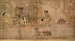"Shit stick - Gaki zōshi 餓鬼草紙 ""Scroll of Hungry Ghosts"", a gaki condemned to shit-eating watches a child wearing geta and holding a chūgi, c. 12th century."