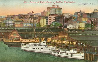 Puget Sound mosquito fleet - steamboats at Galbraith Dock (Pier 3), Seattle,  circa 1912, Vashonian in center, Norwood at right