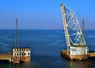 Galveston Causeway - The old bascule bridge in its raised position.